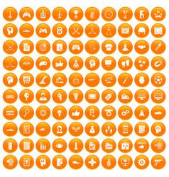 100 strategy icons set orange vector