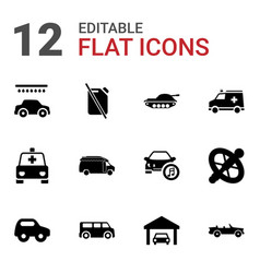 12 car icons vector image