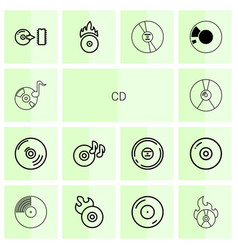 14 cd icons vector
