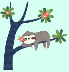 a lazy sloth sleeping on tree vector image