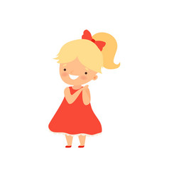 Adorable smiling blonde little girl in red dress vector