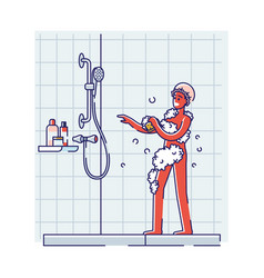 African american man take shower singing vector