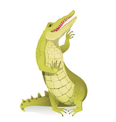 alligator crocodile or gator greeting and waving vector image