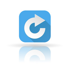 Arrow icon blue sign with shadow and reflection vector