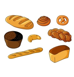 Assorted fresh cartoon bakery set vector