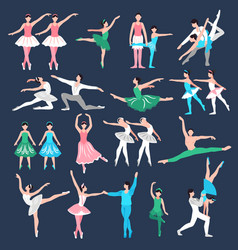 Ballet dancers set vector
