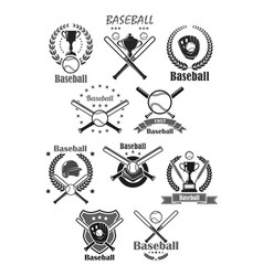 baseball sport icons or tournament badges vector image