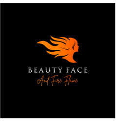 beauty woman with fire flame logo design vector image