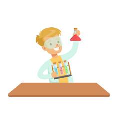 Biy chemist and test tubes kid doing chemistry vector