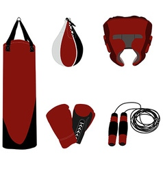 Boxing set six items vector image