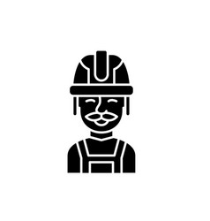 builder black icon sign on isolated vector image
