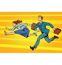 Businessman and businesswoman running competition vector image