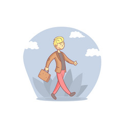 cheerful businessman walking with briefcase young vector image