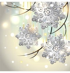 Christmas Card with silver snowflakes vector image
