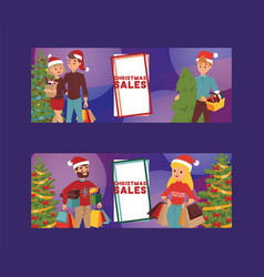 christmas winter sale happy smile family vector image