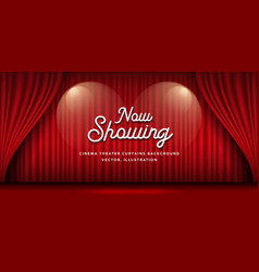 Cinema theater curtains red banner background vector