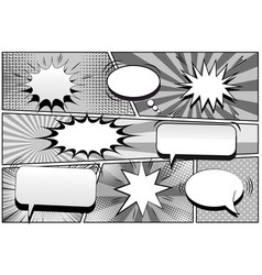 Comic book page monochrome retro template vector