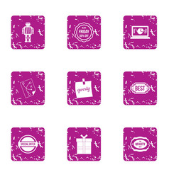 computer software icons set grunge style vector image