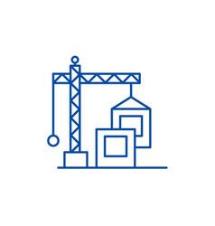 construction crane line icon concept construction vector image