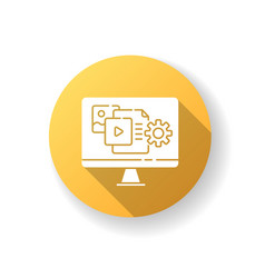 Content manager yellow flat design long shadow vector