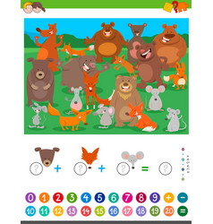 Counting and adding game with cartoon animals vector