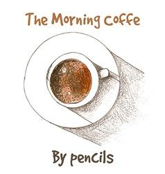 Cup of coffe by color pencils vector