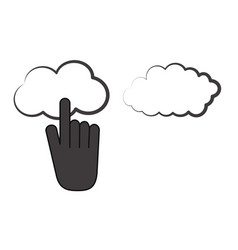 cursor clicking on cloud storage icon image design vector image
