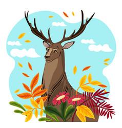 deer cartoon character autumn vector image