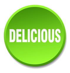 Delicious green round flat isolated push button vector