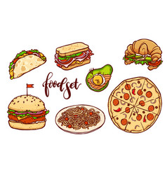 different countries fast food set vector image