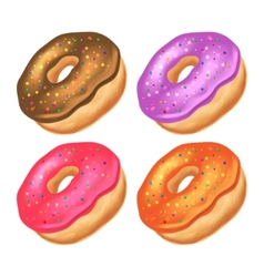 Donuts with icing on a white background vector image