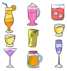 doodle drink colorful various style vector image