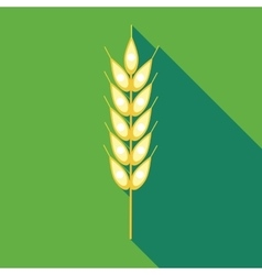 Ear of of wheat icon in flat style vector