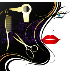 face of a beautiful girl and tools for beauty vector image