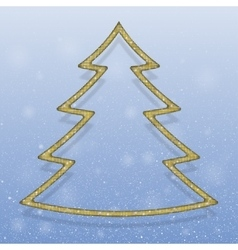 Falling snow Gold Sequins Christmas tree vector