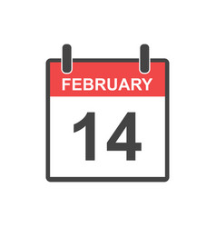 february 14 calendar icon in flat style vector image