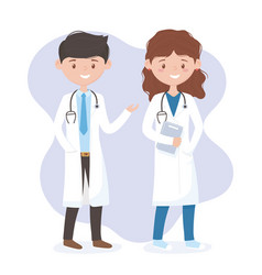 Female and male physician with uniform and vector