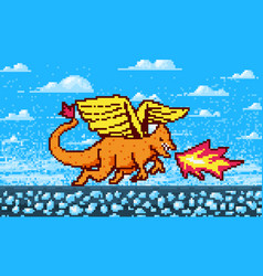 fire dragon and clouds game concept pixel art 8 vector image