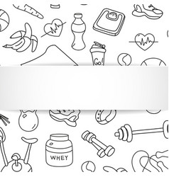 fitness banner with hand drawn gym pattern and 3d vector image