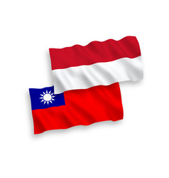 Flags indonesia and taiwan on a white vector