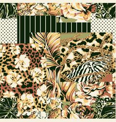 flower leaf written chain wild animal skin fabric vector image
