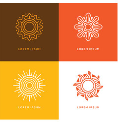 Four abstract linear sun logo vector