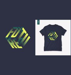 future graphic mens three dimensional t-shirt vector image