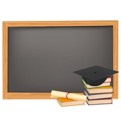 Graduation and black desk vector