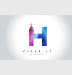 h paintbrush letter design with watercolor brush vector image