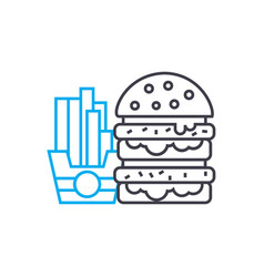 hamburger french fries linear icon concept vector image