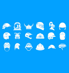 helmet icon blue set vector image
