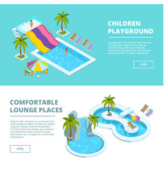 horizontal banners with isometric pictures of vector image