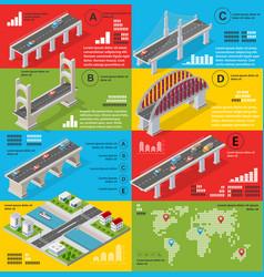 infographics bridges in field vector image
