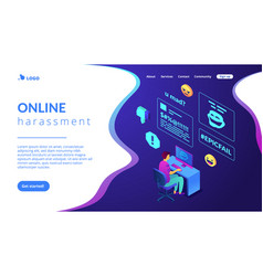 Internet shaming isometric 3d landing page vector